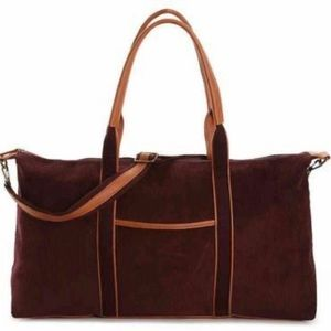 DSW Burgundy Corduroy Weekender Travel Tote